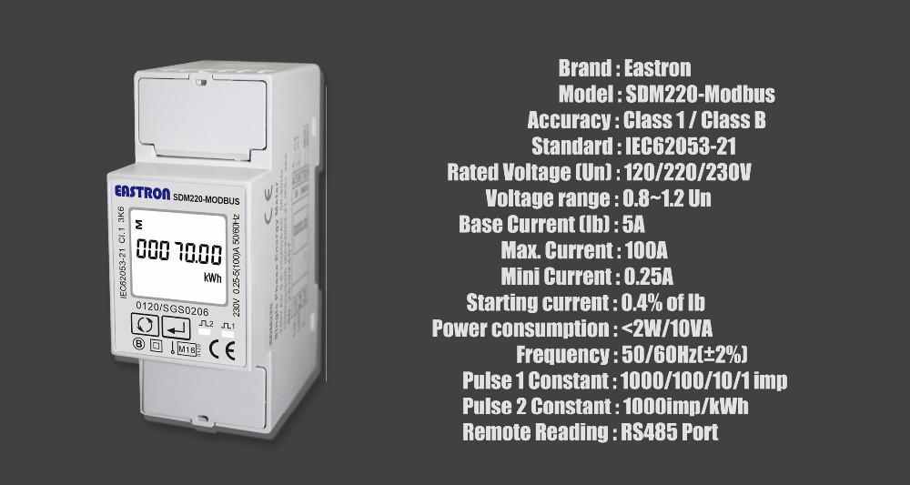 Sdm220-modbus Mid Certified Single Phase Din Rail Energy Meter 2p ...
