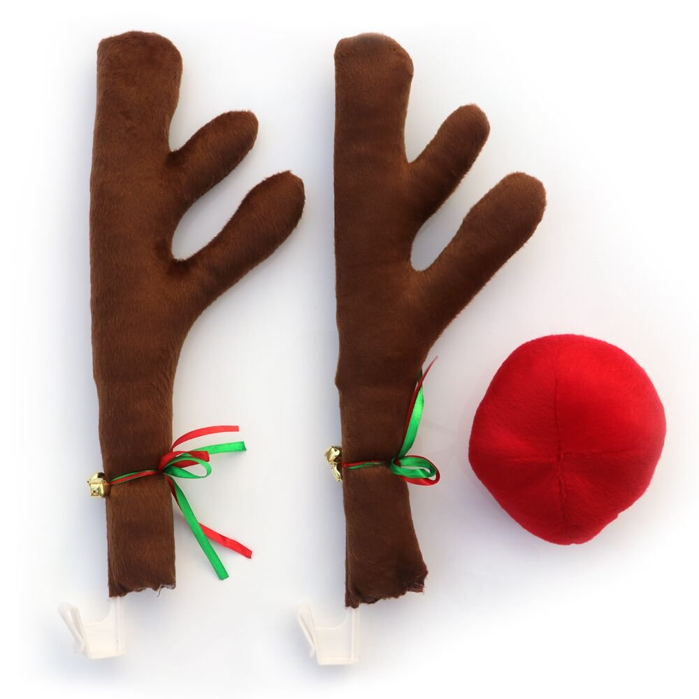 ad2b95b303e2e Get Quotations · Reindeer Car Costume Reindeer Antlers and Rudolph Nose  Costume Christmas Car Decoration Xmas Gifts