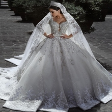 2020 Arabic Dài Tay Áo Bóng Gown <span class=keywords><strong>Wedding</strong></span> Dresses Ren Appliques Bridal Gowns