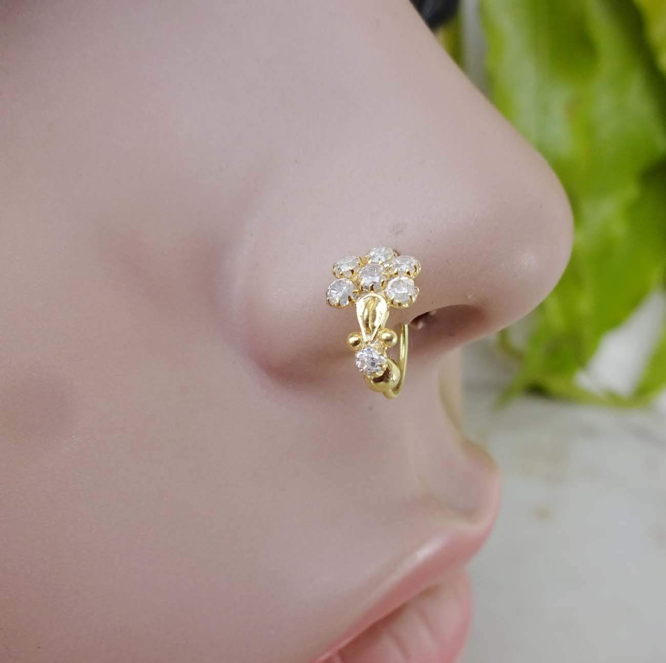 Monroe Piercing,CZ Clear Nose Ring,Gold Nose Ring,White Gold Nose Ring,Diamond Piercing,Indian Nose Jewelry,Indian Nose Ring,Indian Gold Piercing,Gold Nose Hoop,Nose Ring,Crystal Nose Ring(TEJ599)