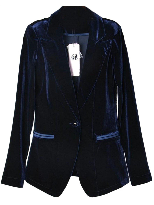 ONTBYB Womens Notch Lapel Casual Blazer 2 Piece Set Ribbed Jacket Coat