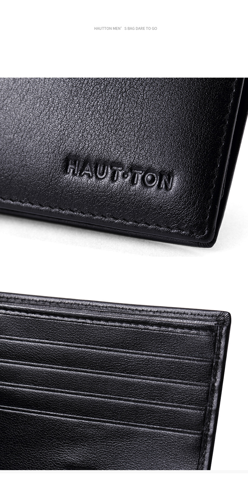 Hautton Fashion Business Male Wallets Slim 100% Real Genuine Cow Leather Men Short Wallets