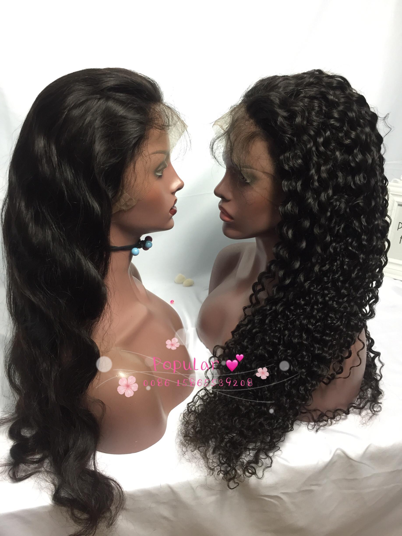 hoge kwaliteit zwart haar volledige kant pruik
