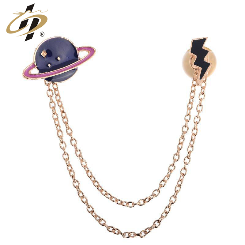 New design Metal Enamel Universe Planet Chain Brooch Collar Pins
