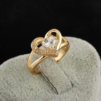 Ladies Simple Gold Finger Ring Design Saudi Arabia Gold Heart Zircon