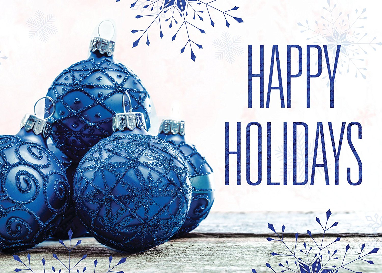 Holiday Foil Printed Greeting Cards - H1712. Greeting Card with Ornaments and Snowflakes and a Happy Holidays Message in Blue Foil. Box Set Has 25 Greeting Cards and 26 Silver Foil Lined Envelopes.