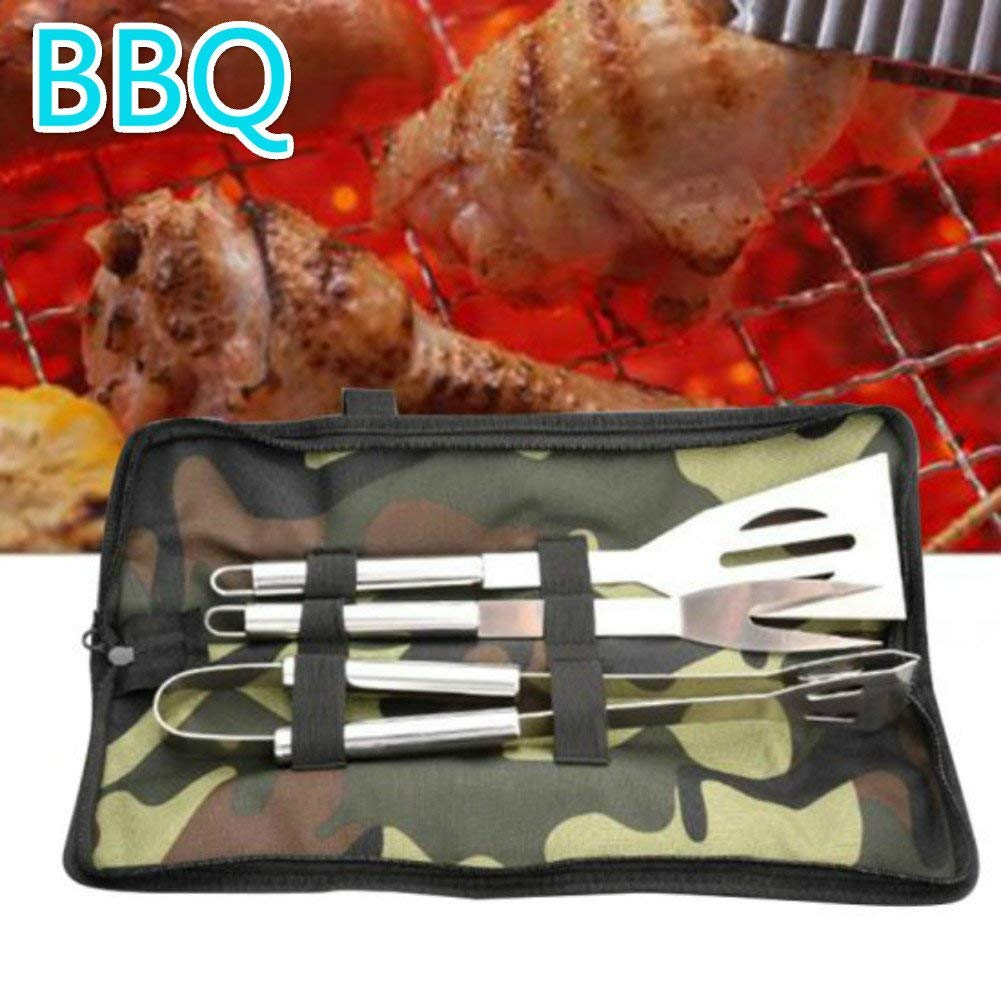 Enshey BBQ Grilling Tool Set - BBQ Accessories - Premium Stainless Steel Construction - Spatula Tong Fork - BBQ Gift - by (3-Piece Set)
