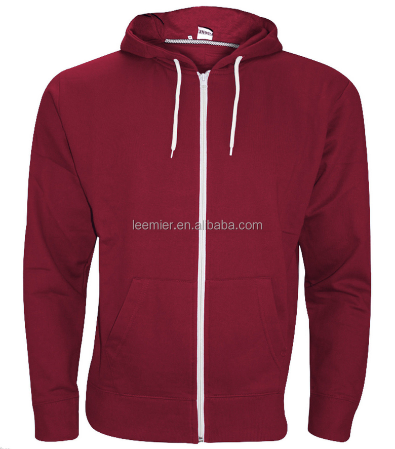 Wholesale burgundy blank high quality bulk-hoodies zip up hoodies