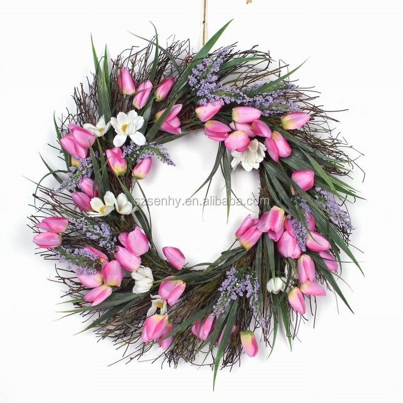 2017 White Berry Christmas Wreath Artificial Holly Wreath Flower ...