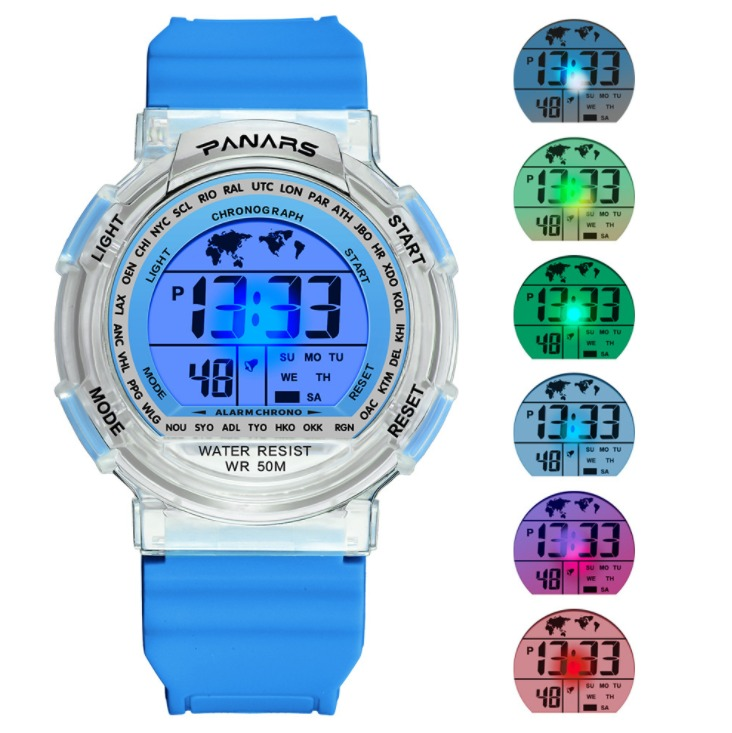 New Clear LED Digital Sports Watch Fashion Transparent Multi-function Color Silicone Strap Sports Wristwatch