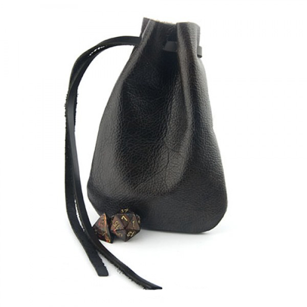 awesome black genuine leather dice bag pouch travel drawstring dice holder