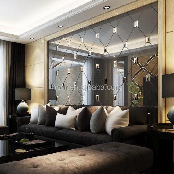 Besar Mewah Kualitas Baik Non Slip Dipoles Dekoratif Dinding Seni Kaca Mantra Cermin