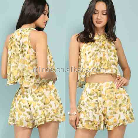 58160625c11cdc Ladies Aztec Print Crop Top Cheap Wholesale Lemon Print Chiffon Pleated  Custom Printed Crop Tops