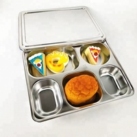 Hot sale school food tray Stainless Steel 5 Compartment Bento Lunch Box for Food