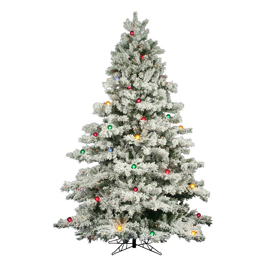 7.5 ft. x 69 in. - Flocked Alaskan - 1495 Classic PVC Tips - 800 Multi-Color G50 Lights - Artificial Christmas Tree - Vickerman A806378