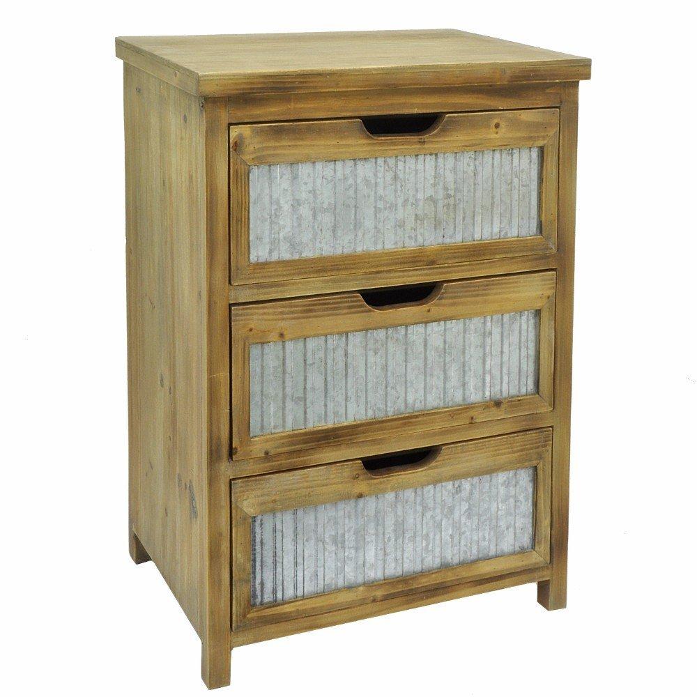 Wood Metal 3 Drawer Cabinet - Benzara