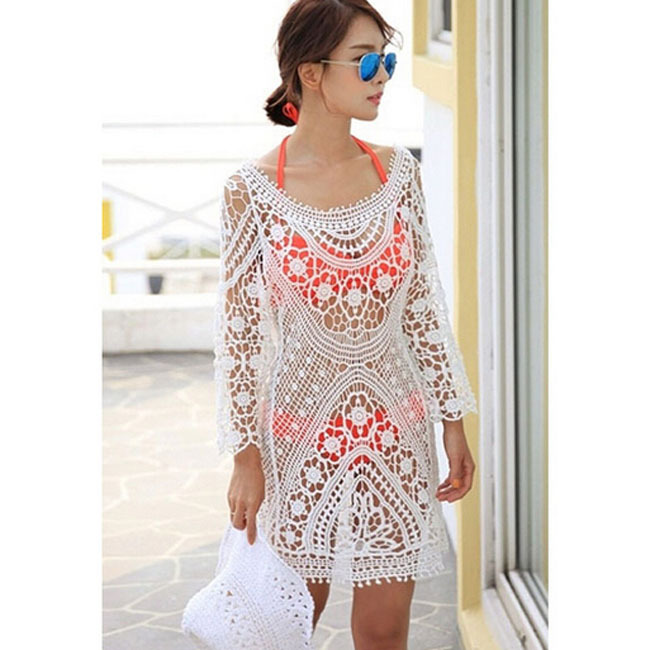 50db7a9d7a Get Quotations · Women Casual Long Sleeve Lace Beach Dress Sarong Beach  Cover Up Bikini Wrap beachwear pareo swimsuit