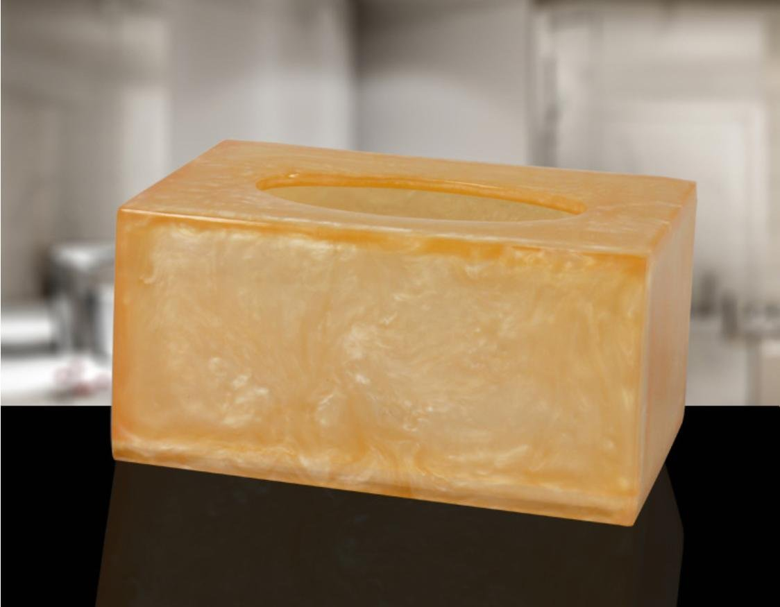 TIANMIN European-Style Solid Tissue Box Creative Tissue Box High-End Paper Box Containing Household Resin Pumping Carton Creative Home , Rose Gold