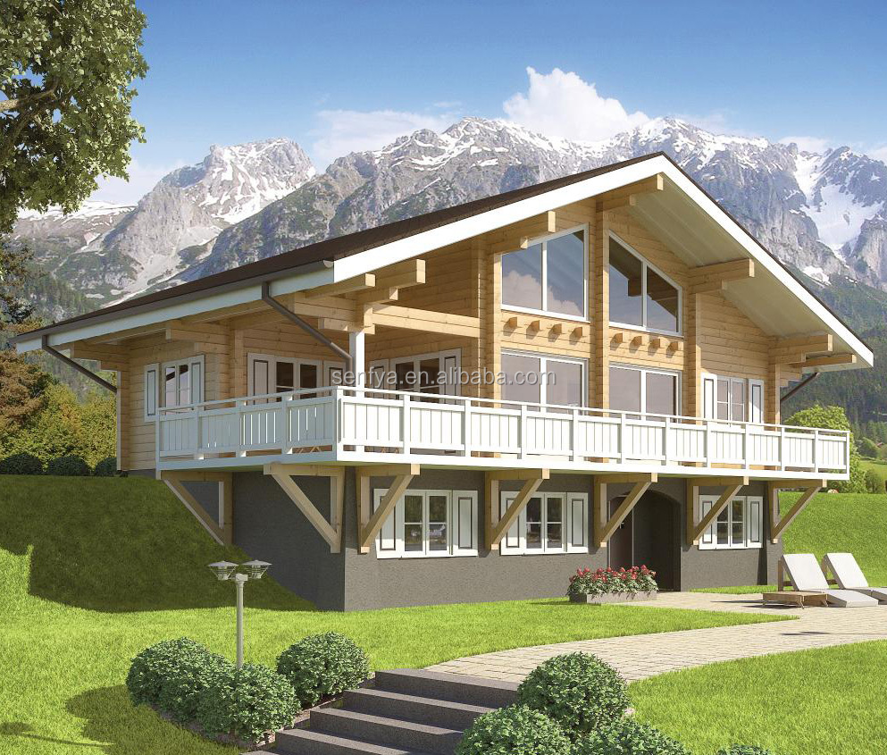 50 year warranty of log cabins wooden house prefabricated with bright view