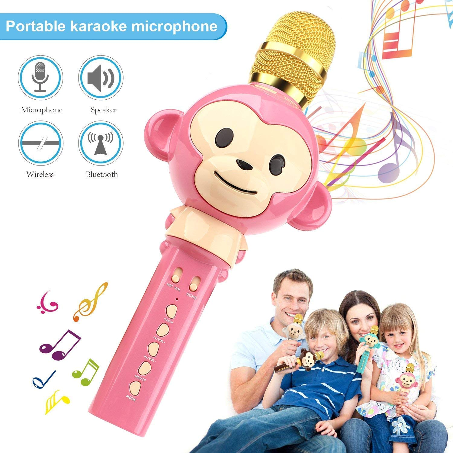Kids Microphone,Wireless Bluetooth Karaoke Microphone for Kids 3-in-1 Portable Handheld Karaoke Mic Home Party Music Playing Speaker Machine Support iPhone/Android/iPad PC and All Smartphone (Pink)