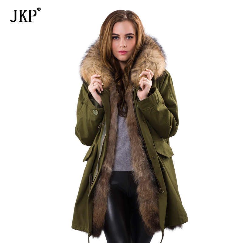 Winter Women fox fur Parka colorful Women Real Raccoon Thick Fur Coat
