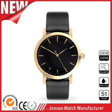 Custom japan movement quartz stainless steel mens black watch