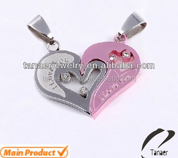 image puzzle products pendant fashion titanium ha grande lovers wholesale necklace crystal half trader two product couple heart new steel pepper chain necklaces