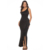 Evening Dinner Party Sexy Ruffle Asymmetrical Black Slash Neck One Shoulder Long Women Prom Dresses