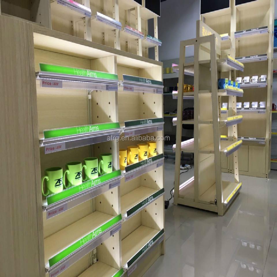 New Trendy Double Sided Wooden Gondola Shelving With Led Shelf Lighting Modern Wood Wall Shelves Commercial