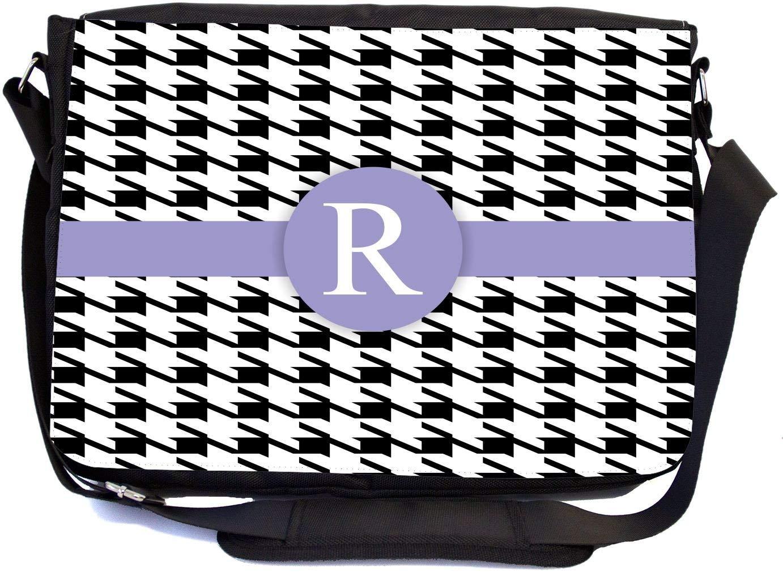 """Rikki Knight Letter """"R"""" Violet Houndstooth Monogram Design, Messenger School Bag (mbcp-cond46365)"""