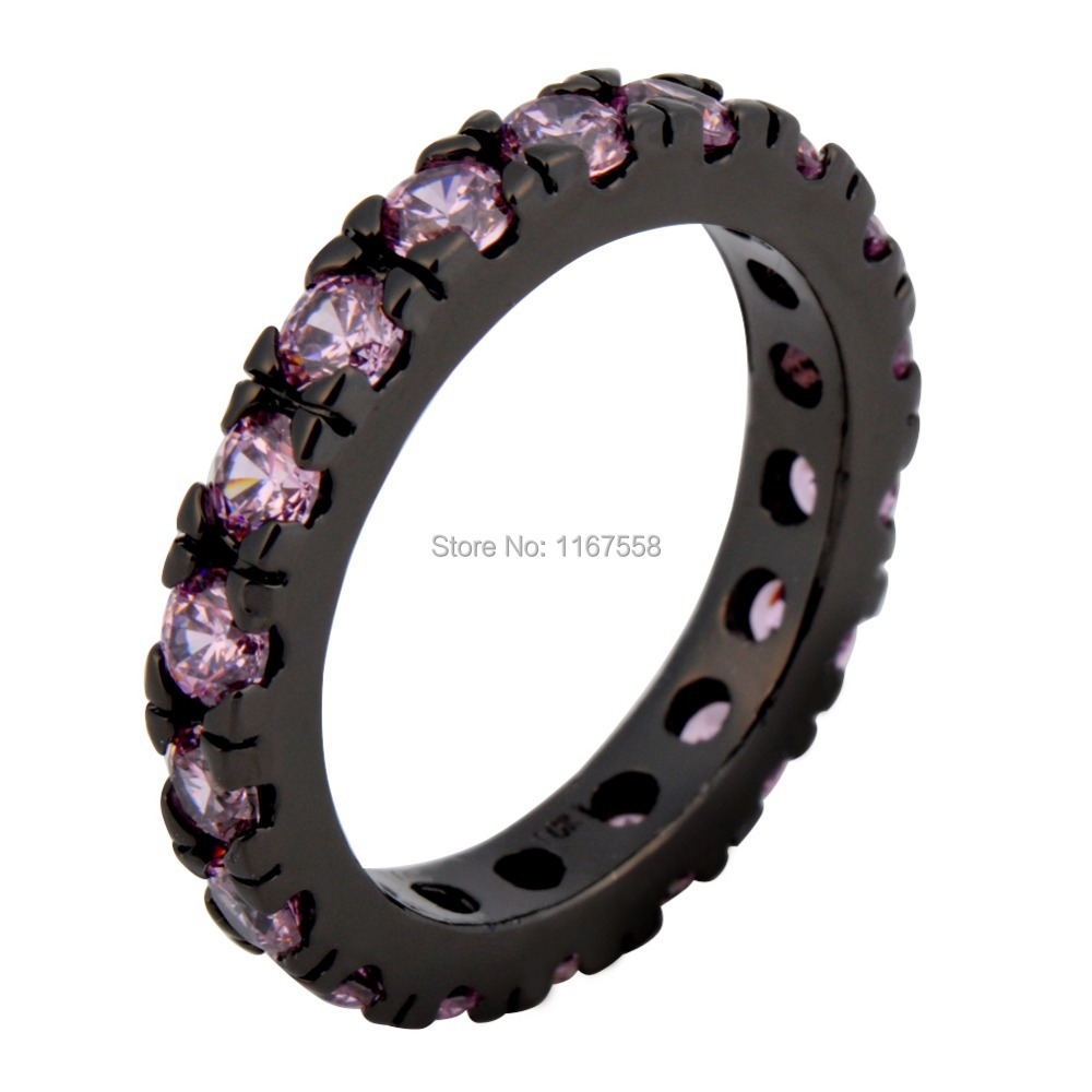 Women Size 6/7/8/9/10 Fashion Jewelry 14KT Black Gold Filled Pink Sapphire Finger Rings Valentine's Day New