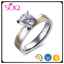 Rhodium Gold Plated 925 Sterling Silver Ceramic Round Stone CZ Crystal Rings