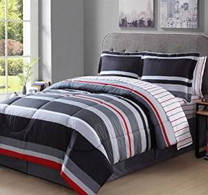 Arde 8 Piece Boys Full Rugby Stripes Comforter Set, Gray White Grey Black Red Stripes Bedding Pattern, Beautiful Colors, Horizontal Striped Rugby Bed in a Bag with Sheet Set