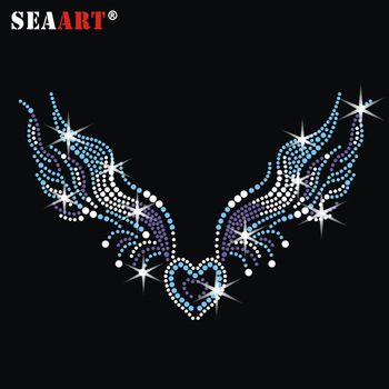 Rhinestone Transfer Iron On Angel Wings Iron-On Patches For Children Clothing