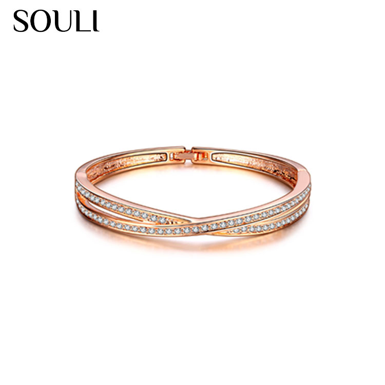 Rose Gold Plated Jewelry Diamond Micro Pave Fashion Cross Bracelet Bangle