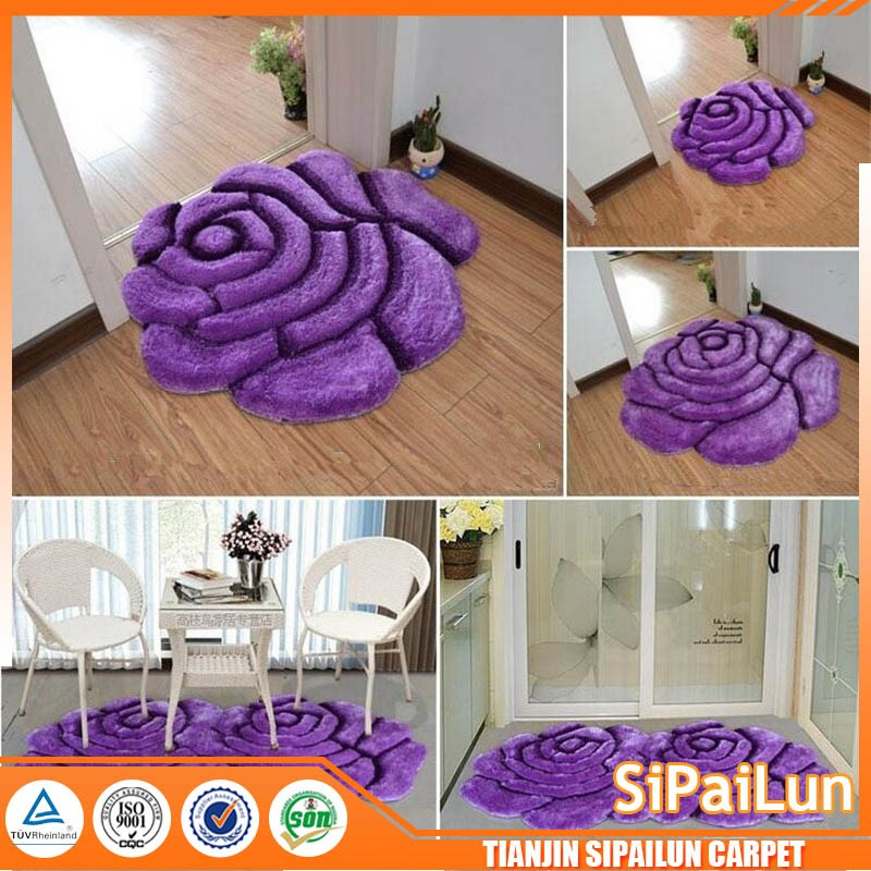 warm color 3d polyester rose shaped pattern door rugs/mats