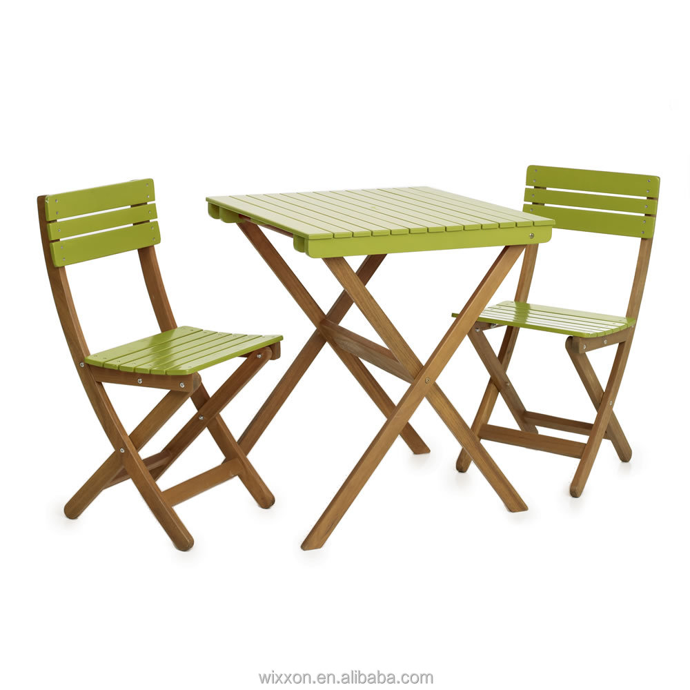 Wooden folding garden table set chair set wooden bistro for Garden furniture table and chairs