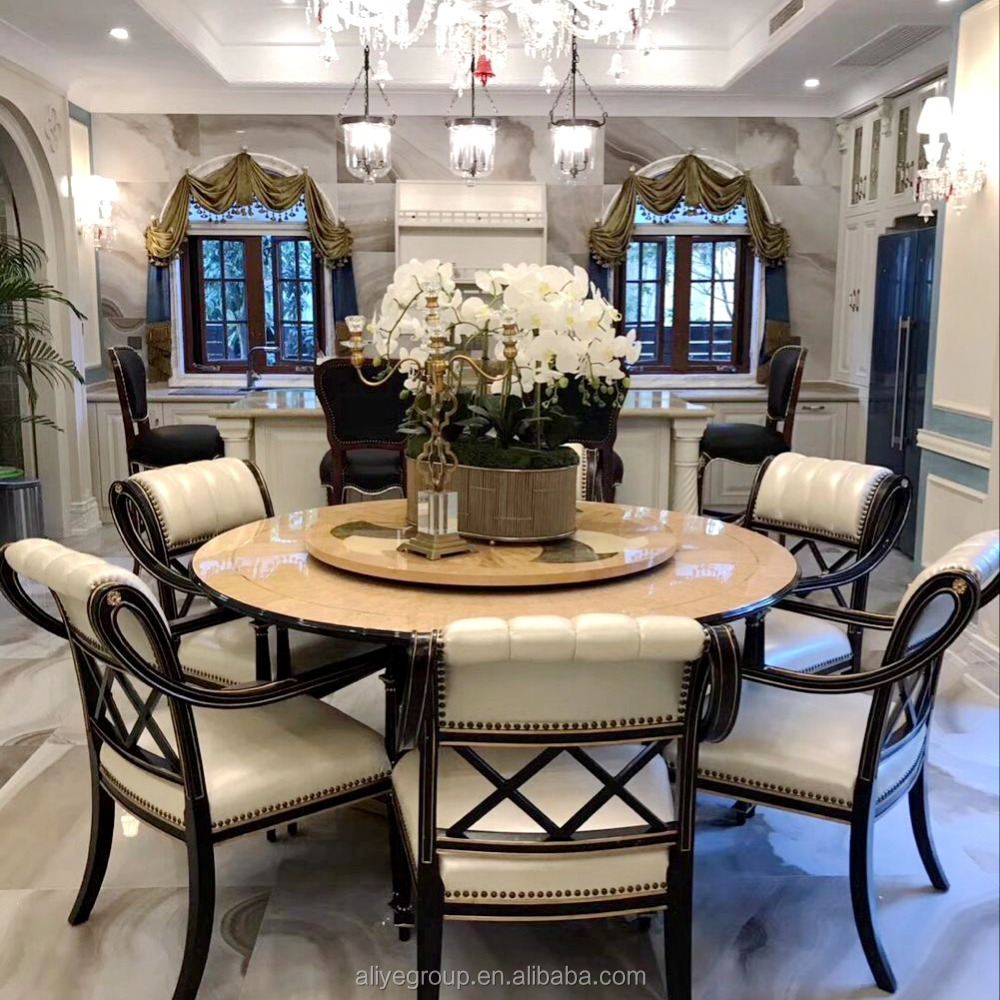 Luxury High Quality Wooden Round Rotating Top Dining Table And Chairs For Room Furniture Sets