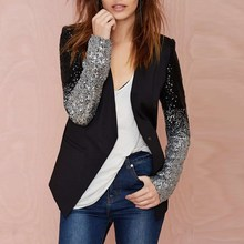 New Women Jacket Coat 2016 Spring Autumn Work Blazers Suit Long Sleeve Bling Silver Black Sequins Elegant Ladies Blazer feminino