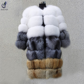 Fashion girl winter thick and warm real fox fur coat