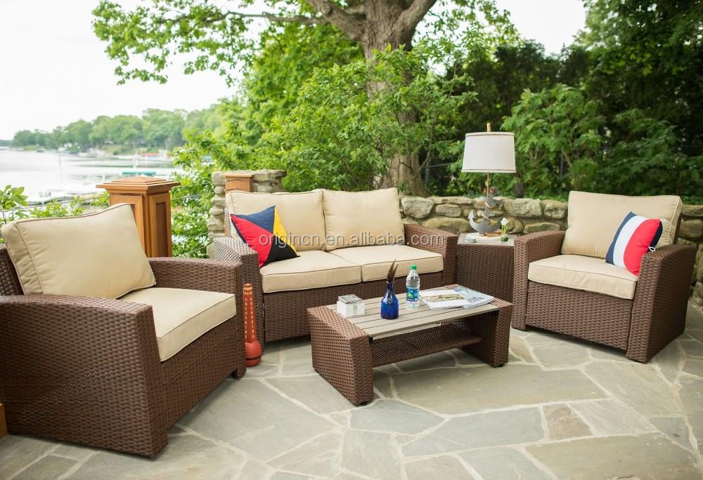 5 pc imitación madera de diseño superior jardín sofá de mimbre viro ...