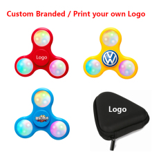 Custom Fidget Spinner LED Flash Light Glow Popular ABS Plastic Wind Hand Branded Print Logo Anti-Pressure Spinner Toys Gift