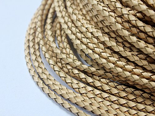 5 Yards 3mm Genuine Leather Bolo Cord, Woven Braided Leather Strap for Bracelet Necklace Cord (green)
