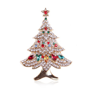 DS Newest Arrival Xms Gift Gold Plated Colorful CZ Stone Tree Brooch Crystal Diamond Christmas Brooch