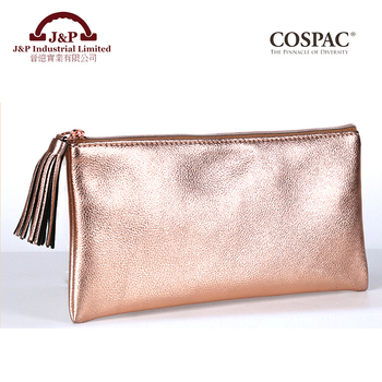 Women Luxury Style Metallic Rose Gold Color Pu Faux Leather Flat Cosmetic Bag