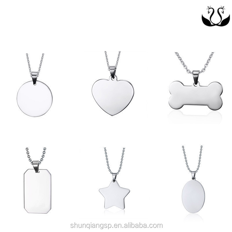 2017 Wholesale New Product Stainless Steel Personalized Custom Engraved Logo Necklace Pendants Stamping Blank