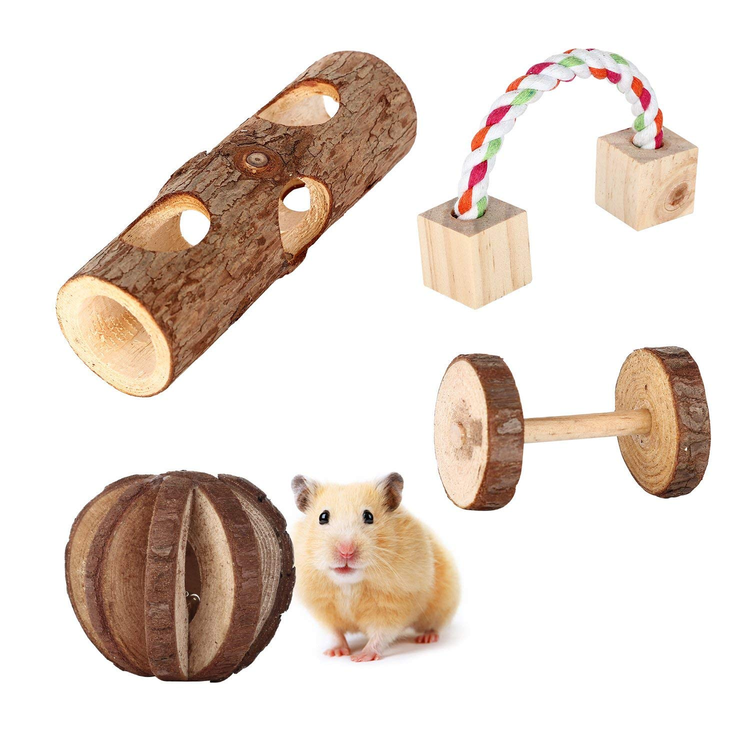 Bvanki 4 Pcs Little Pets Toys, Natural Wooden Hamster Chew Toys Tunnel, Forest Hollow Tree Trunk, Wooden Chew Pine Dumbbells, Unicycle Bell Roller Toy, Mini Rope Toy