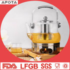 High quality heat resistant glass tea kettle borosilicate fire directly pyrex teapot glass tea pot
