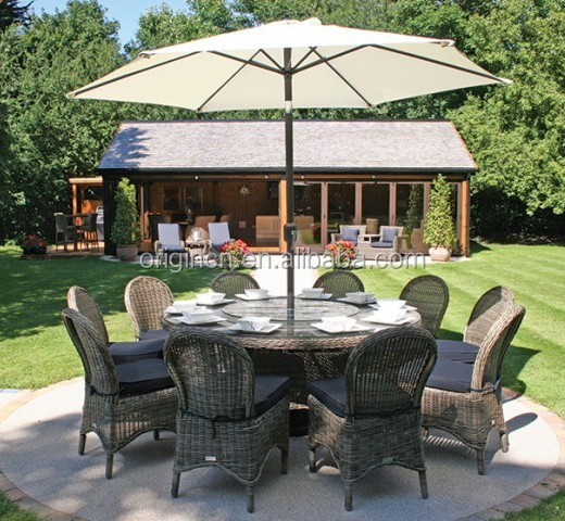 Extra Large Garden Line Dining Round Table And Outdoor Chair Set Patio Wicker