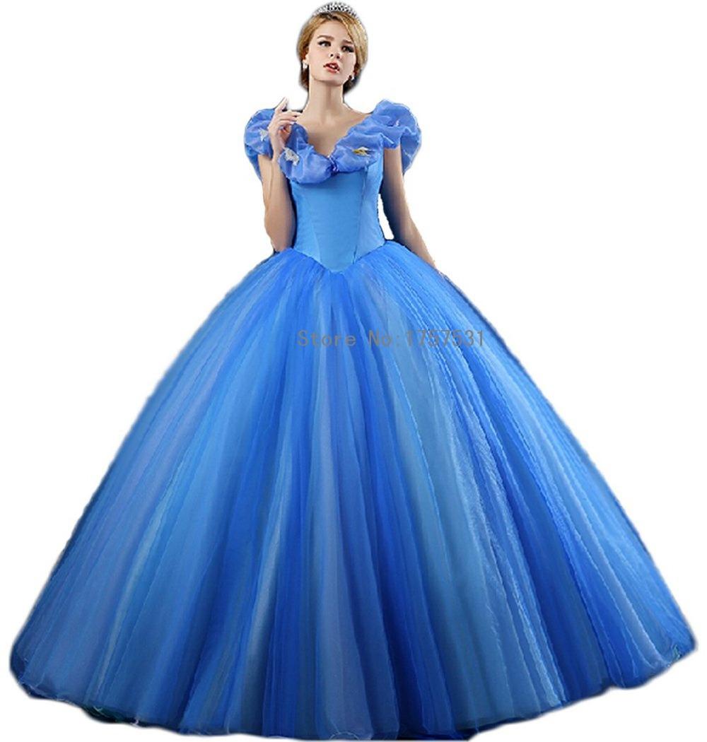 Plus Size Wedding Dresses Cinderella Ball Gown: 2015-Popular-Trend-Cinderella-Blue-Pageant-Dress-V-neck